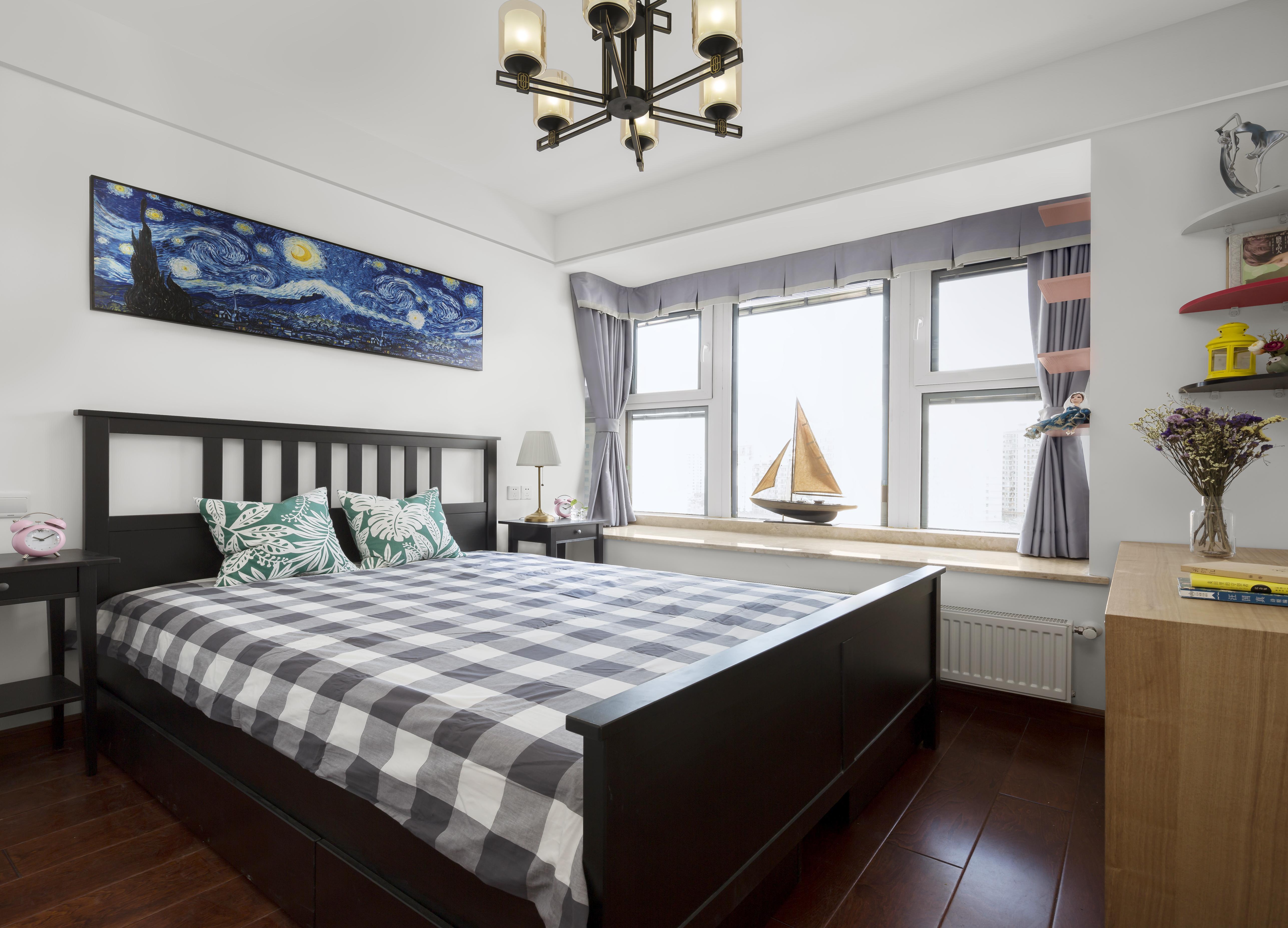 90㎡新中式装修卧室效果图