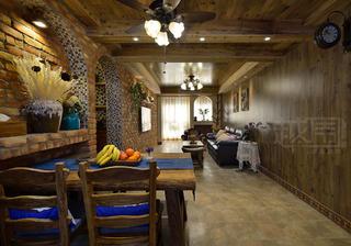 美式乡村两居室客餐厅装修效果图