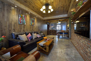美式乡村两居室客厅装修效果图