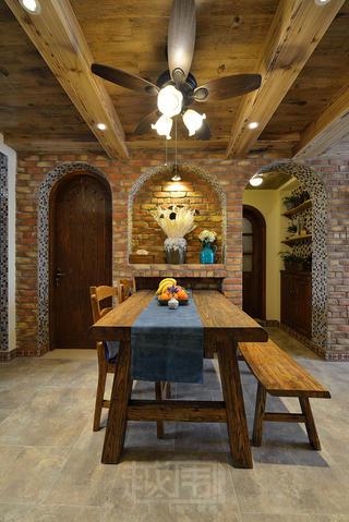 美式乡村两居室餐厅装修效果图
