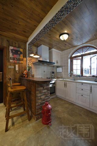 美式乡村两居室厨房装修效果图