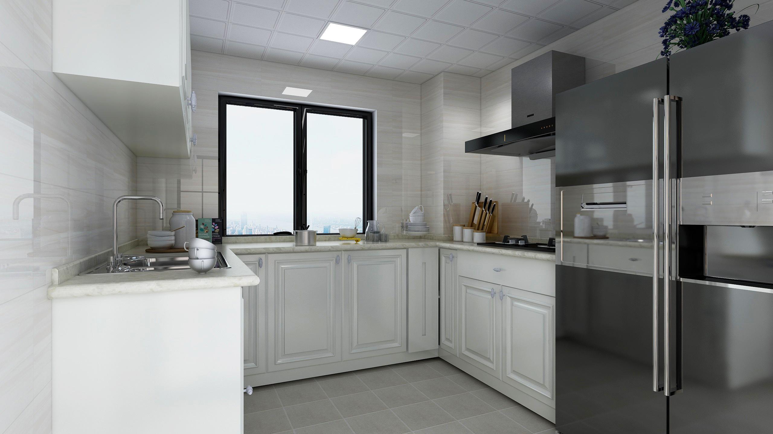130平新中式装修厨房效果图