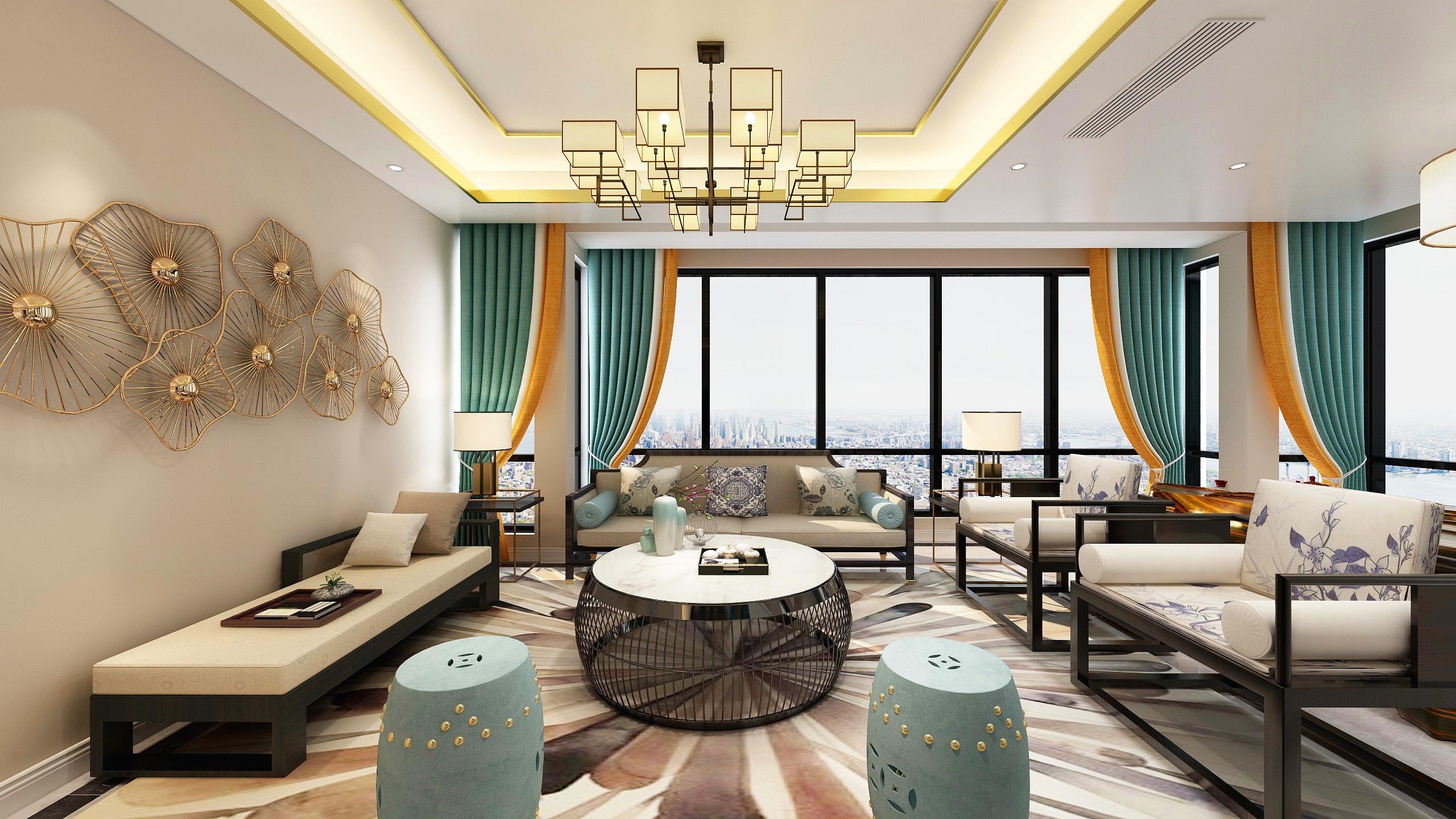 130平新中式客厅装修效果图
