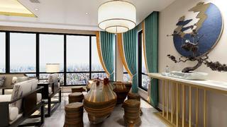 130平新中式茶室装修效果图