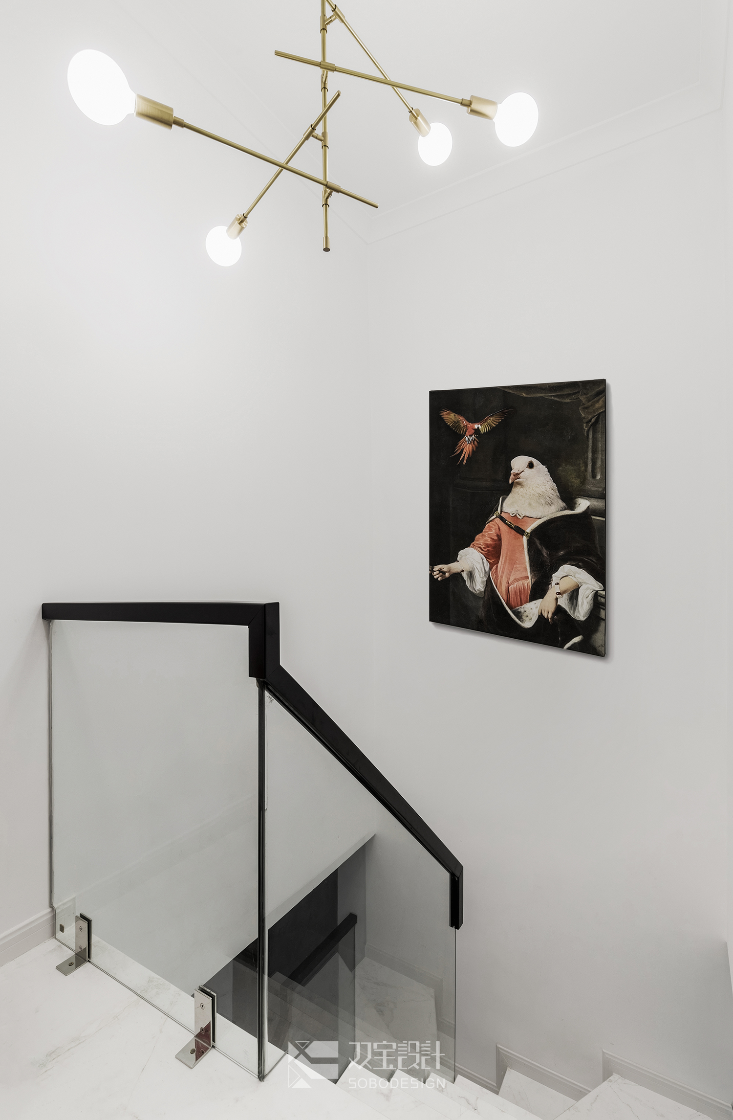 132㎡复式轻奢风楼梯空间装修效果图
