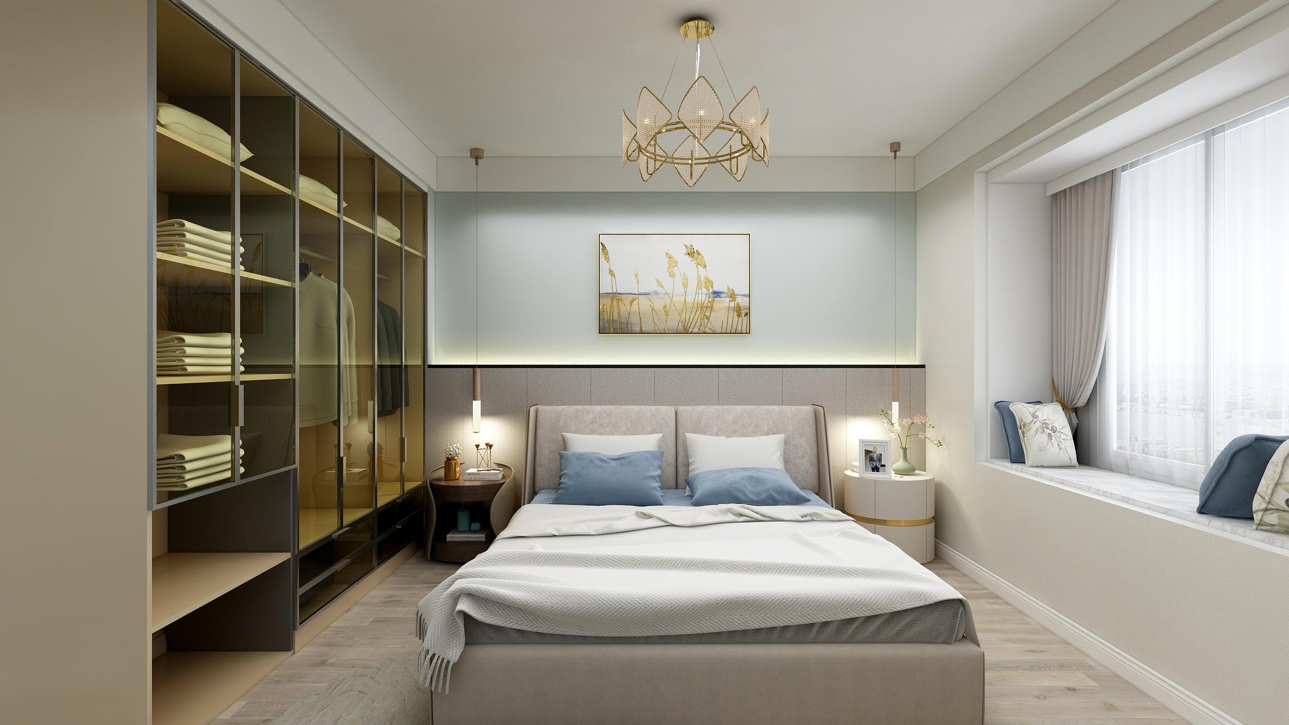 轻奢风卧室装修设计效果图