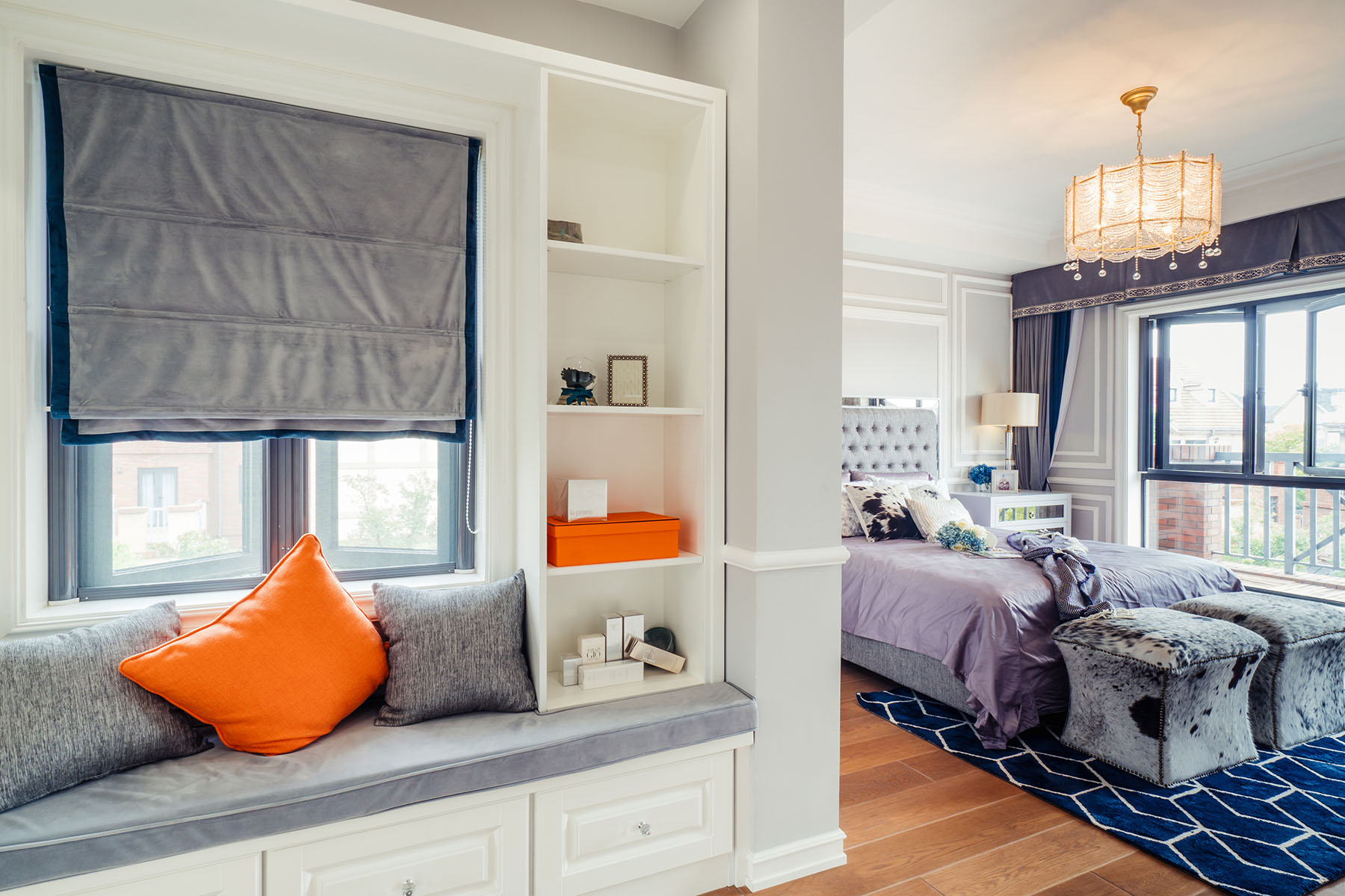 法式混搭别墅装修卧室飘窗设计