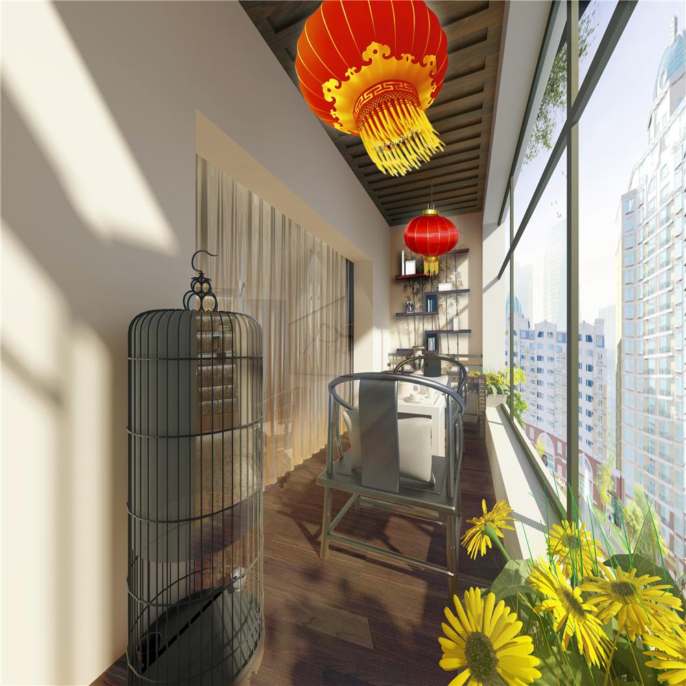 150㎡新中式风阳台装修效果图