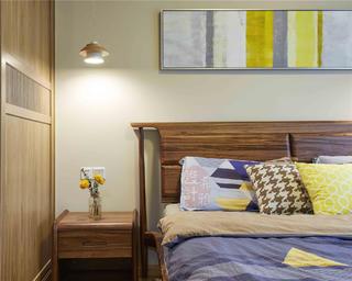 日式北欧风三居装修床头细节图