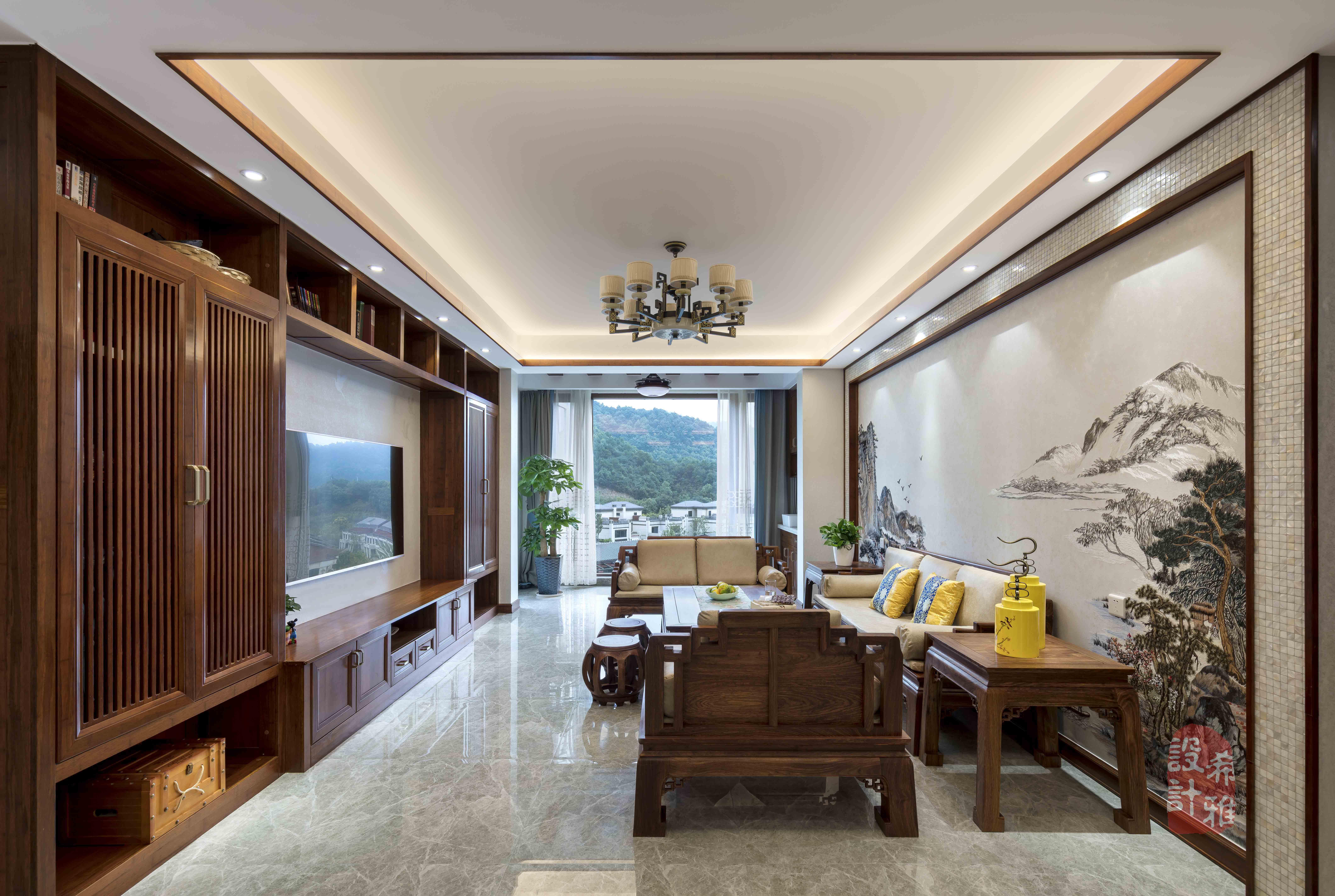140㎡中式风格客厅装修效果图