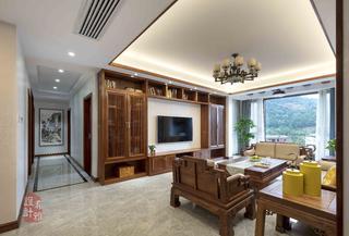 140㎡中式风格客厅电视墙装修效果图