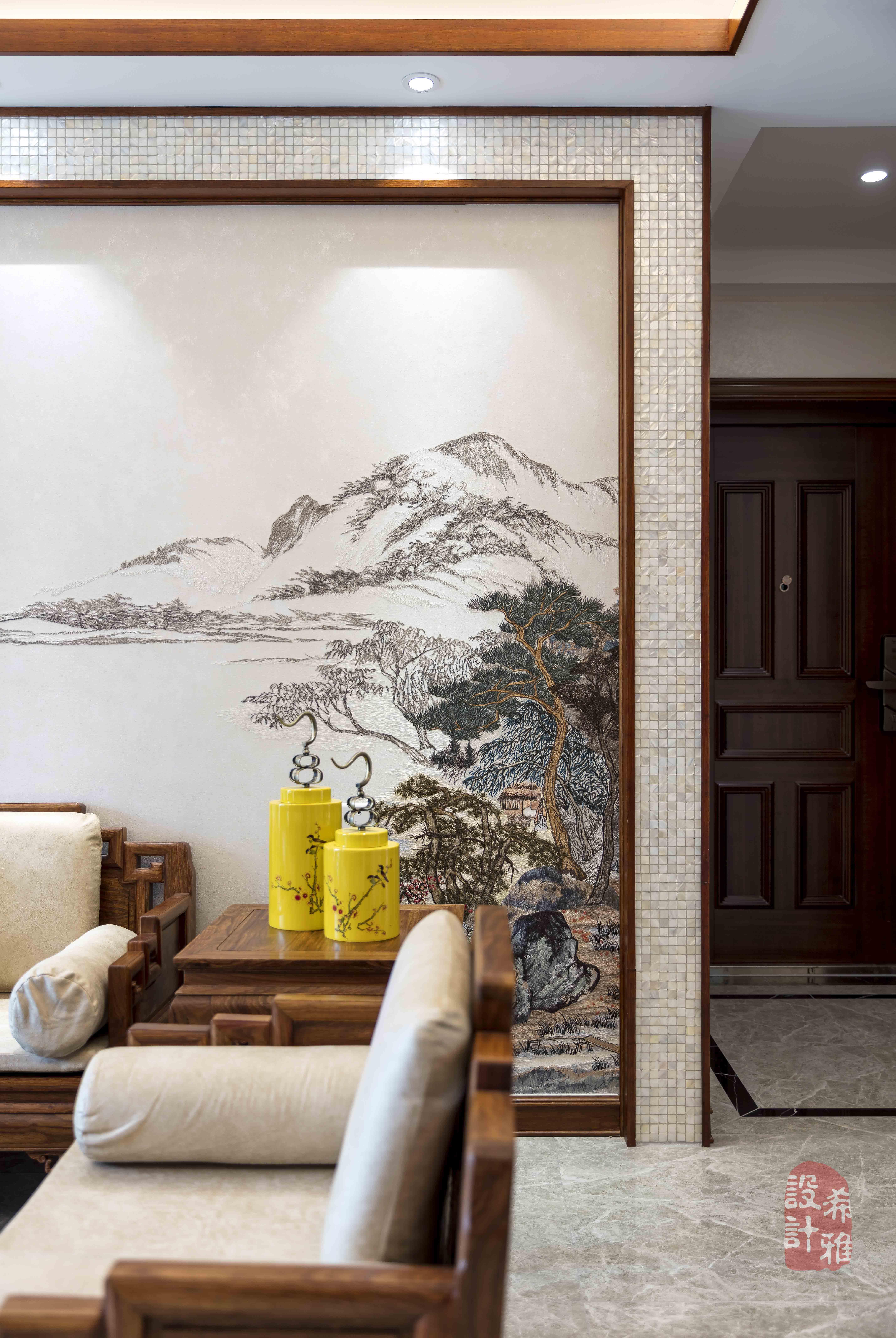 140㎡中式风格沙发墙装修效果图