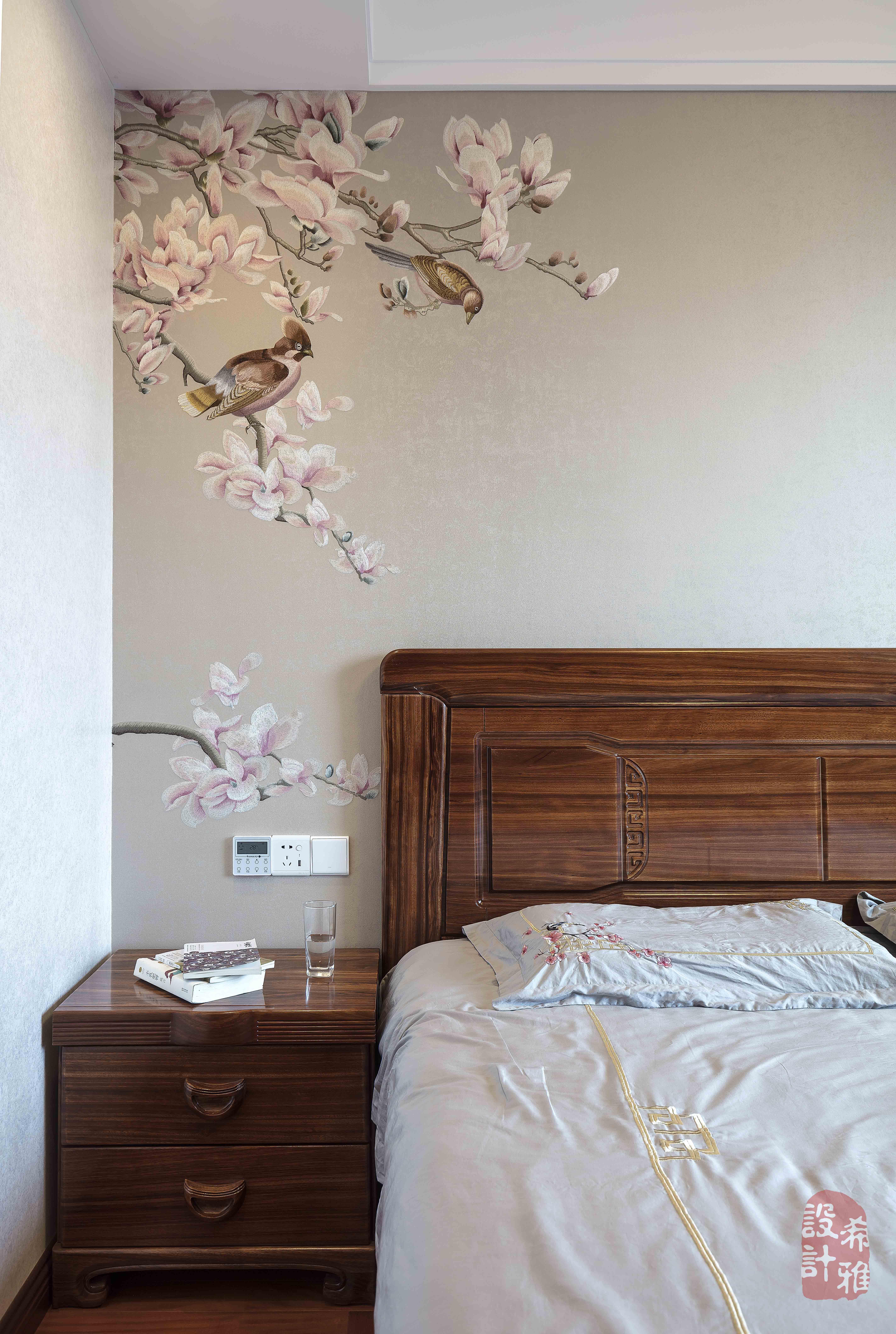 140㎡中式风格床头背景墙装修效果图