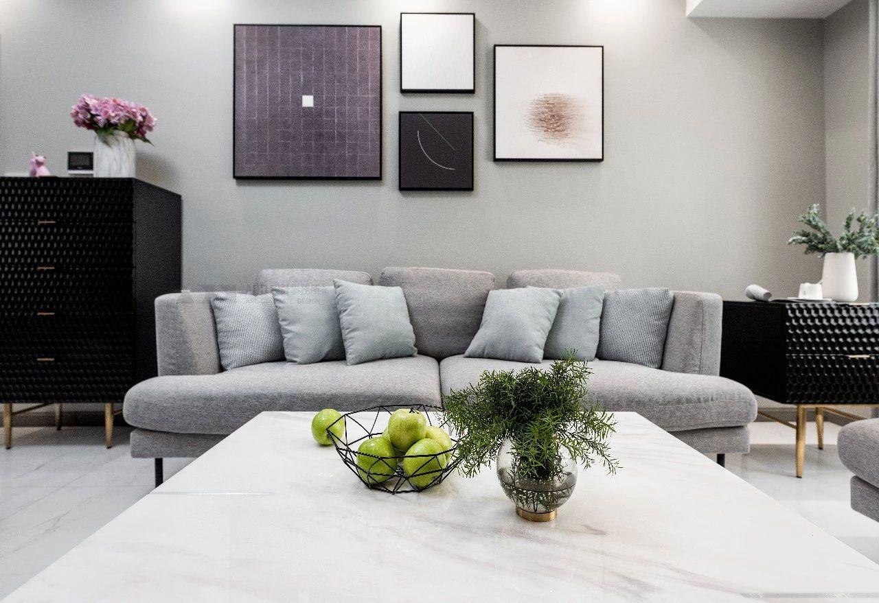 简约现代三居沙发背景墙装修效果图