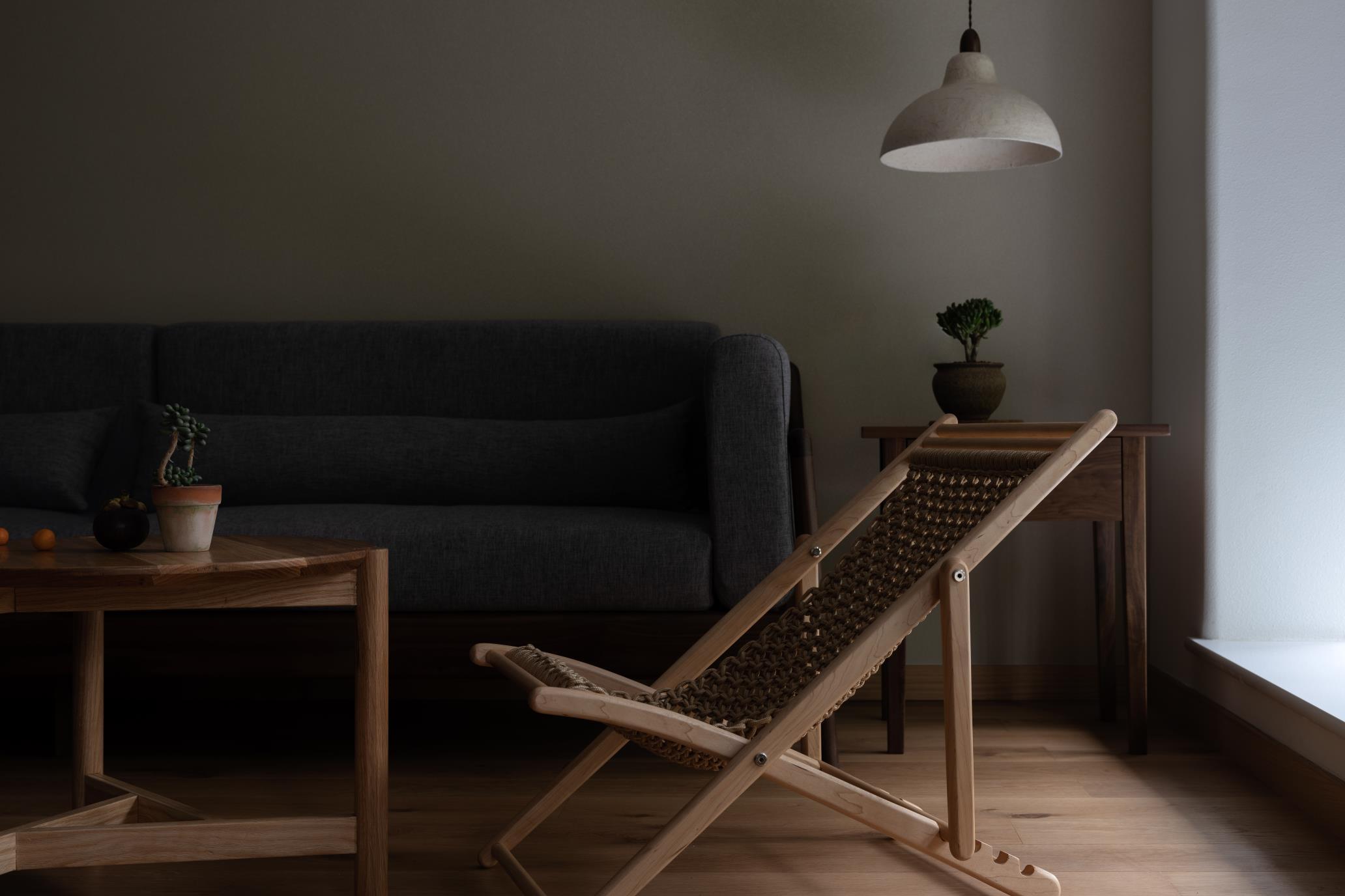 100㎡自然简约风装修休闲躺椅设计