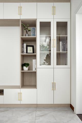 现代中式混搭两居装修书柜设计