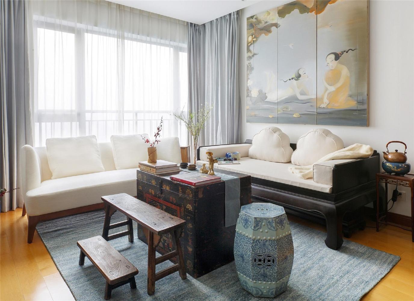 80㎡中式风格客厅装修效果图