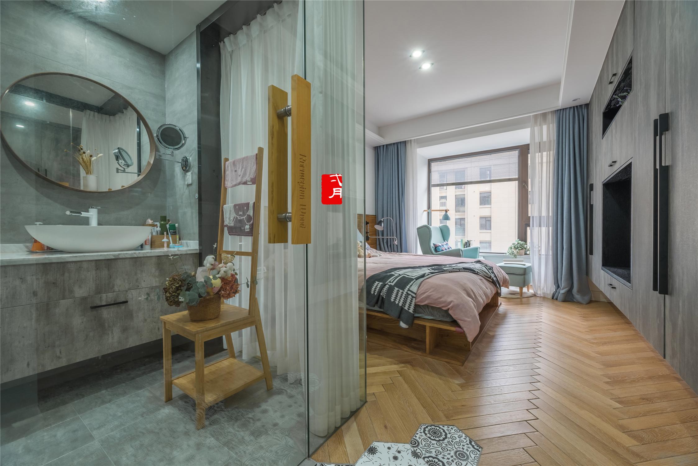 现代混搭风格三居卧室卫生间装修效果图