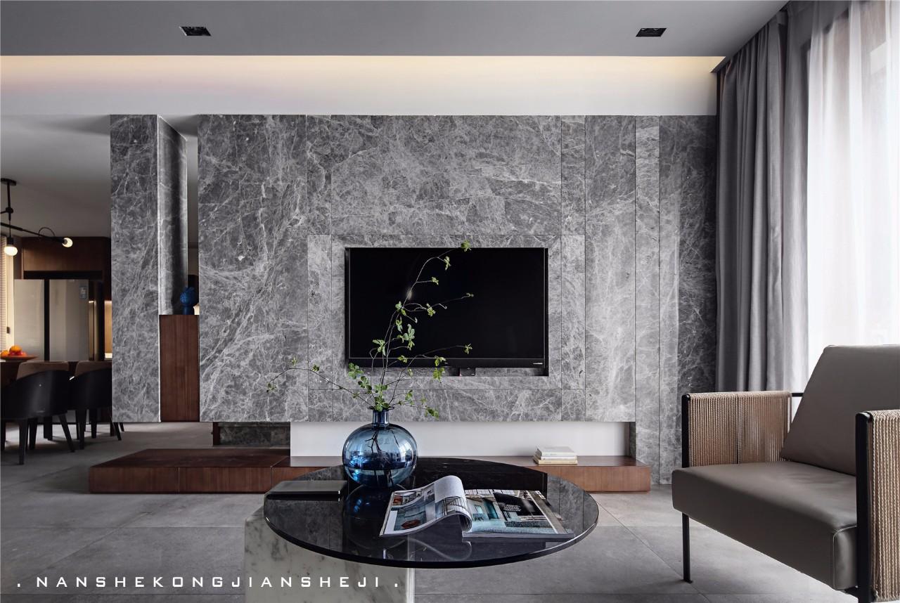 现代风别墅电视背景墙装修效果图