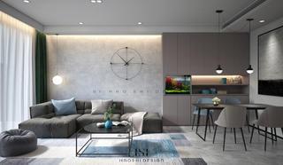 现代极简三居沙发背景墙装修效果图