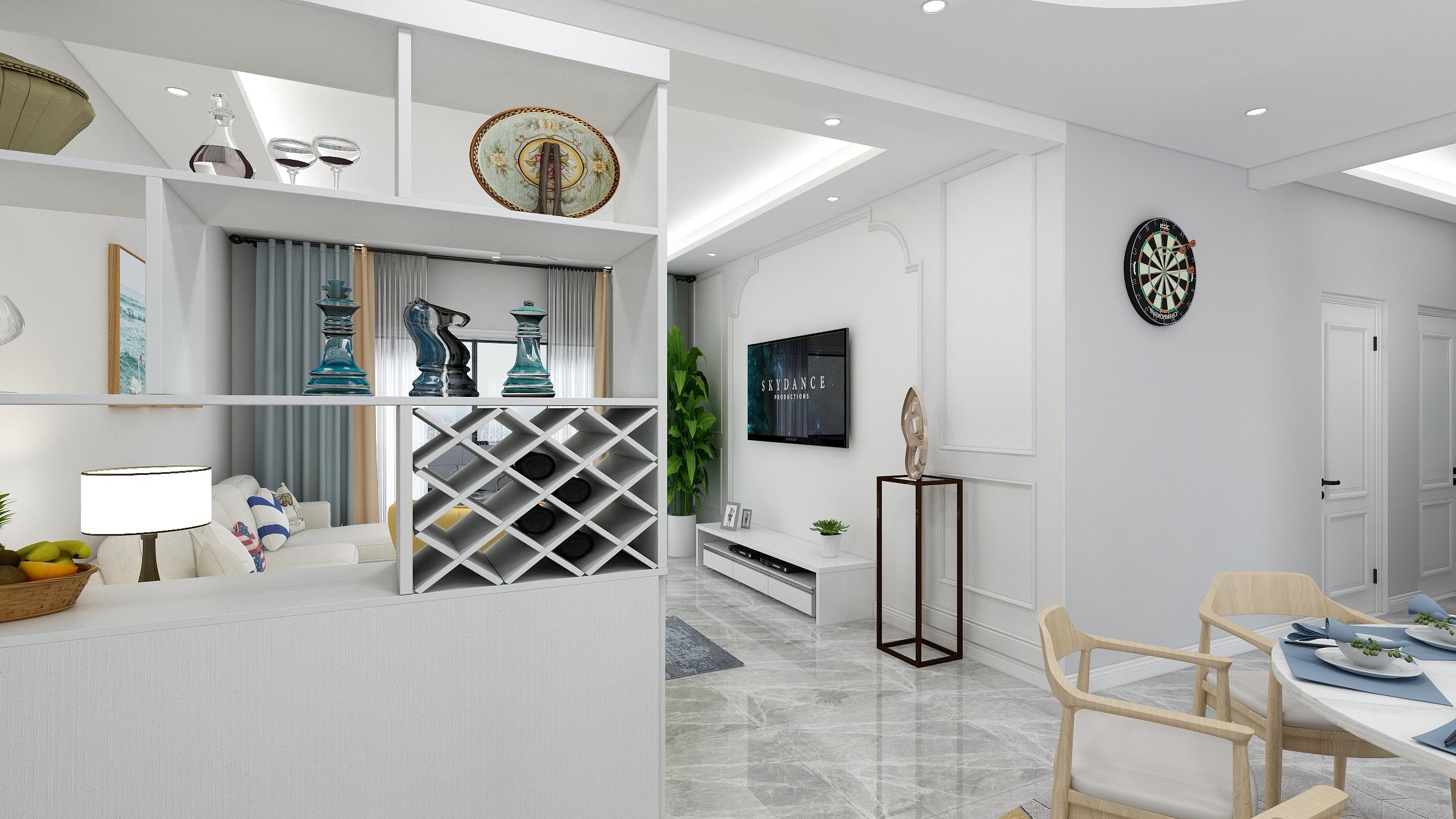 现代简约三居装修展示柜设计