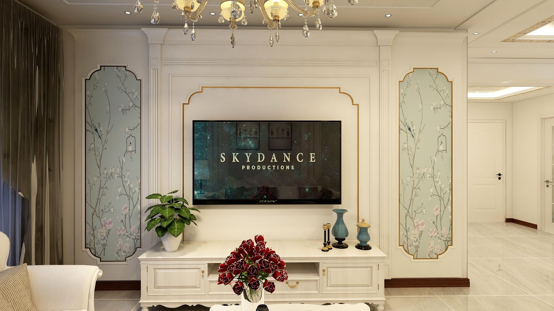 欧式风格两居电视背景墙装修效果图