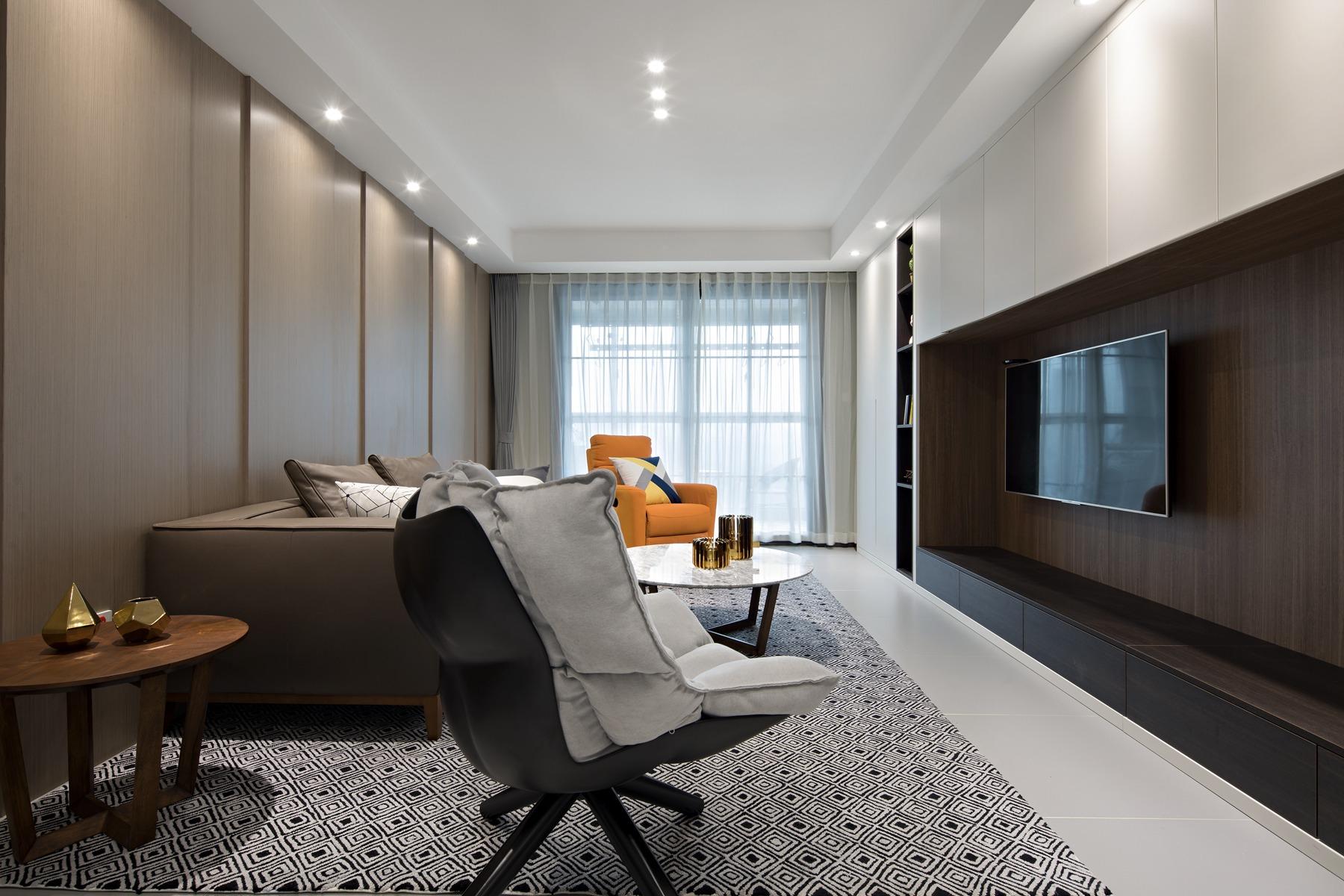 120㎡现代简约客厅装修效果图