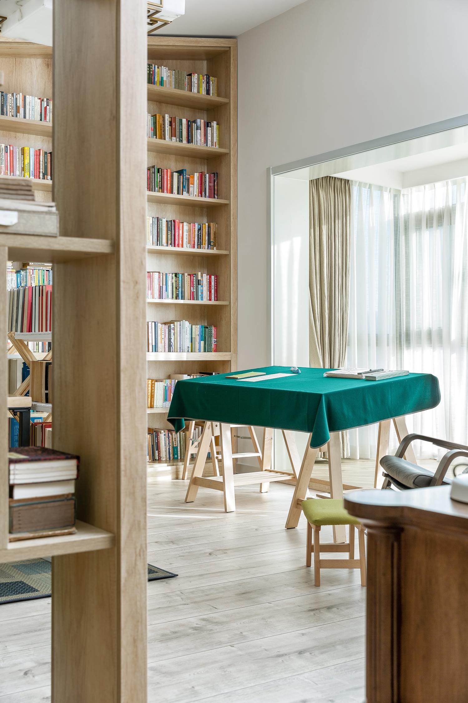 复式现代美式风格书房装修效果图