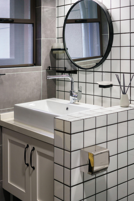 125平混搭风格装修洗手台设计