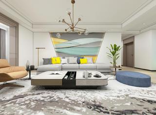 大户型现代风沙发背景墙装修效果图
