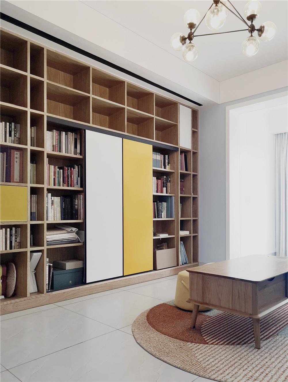 北欧风格二居书柜墙装修效果图