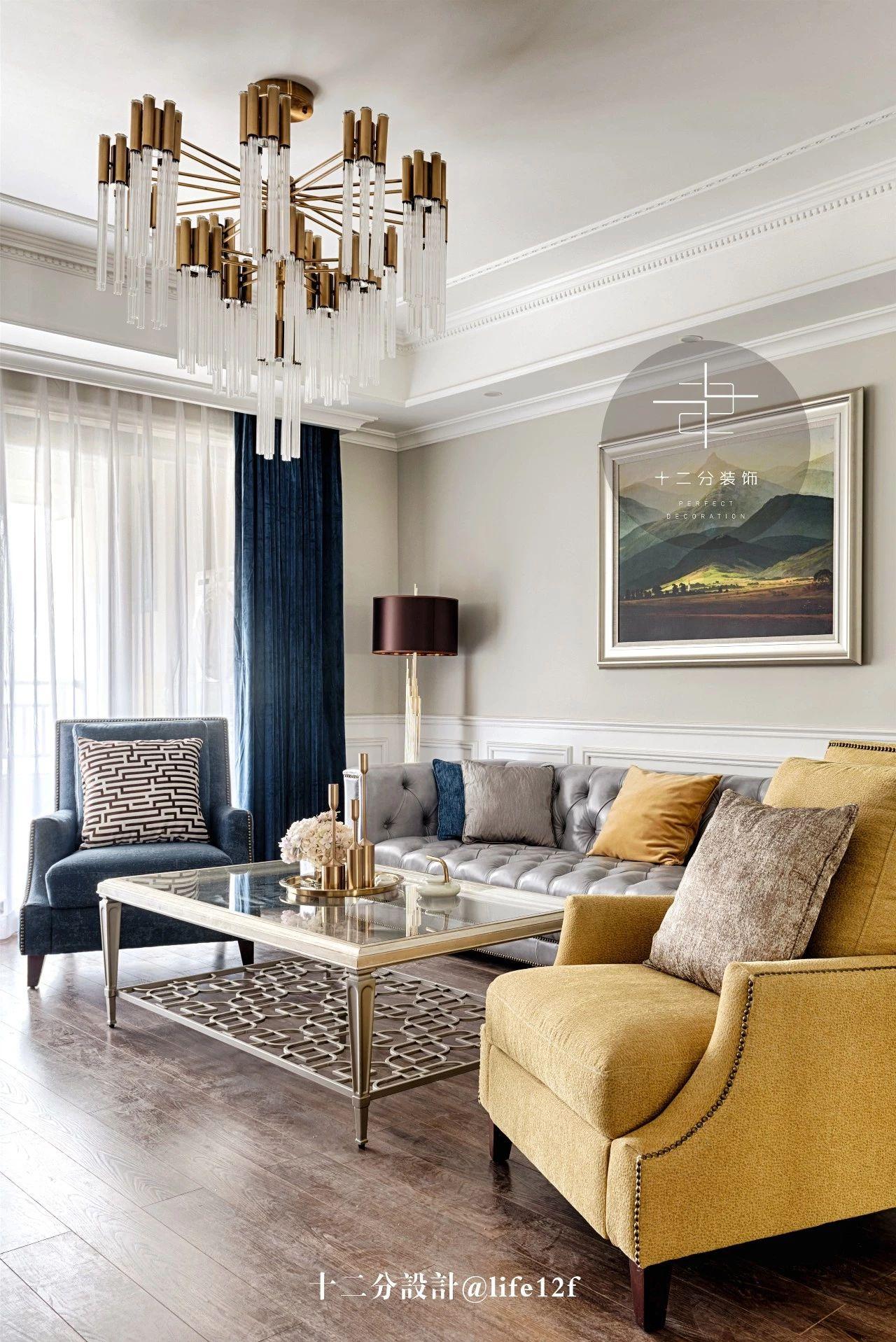 150平美式风格装修客厅吊灯设计