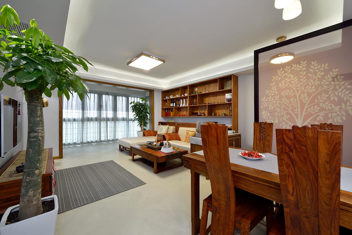 中式风格三居客餐厅装修效果图