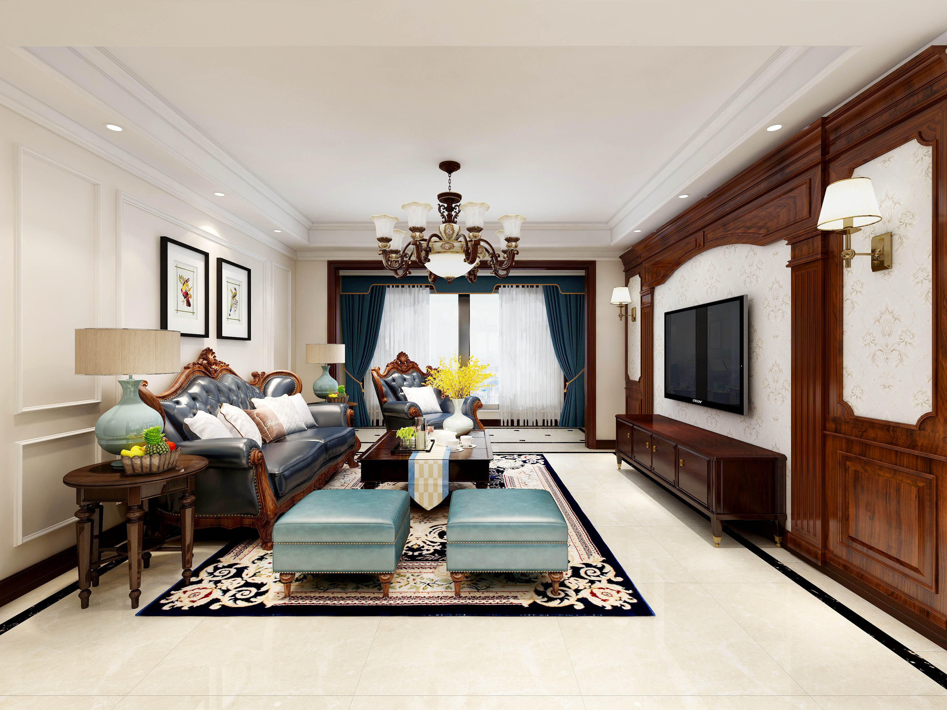 经典美式风格四居客厅装修效果图