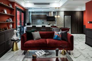 78㎡混搭风格装修红色沙发设计