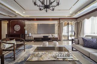大户型中式风格客厅电视墙装修效果图