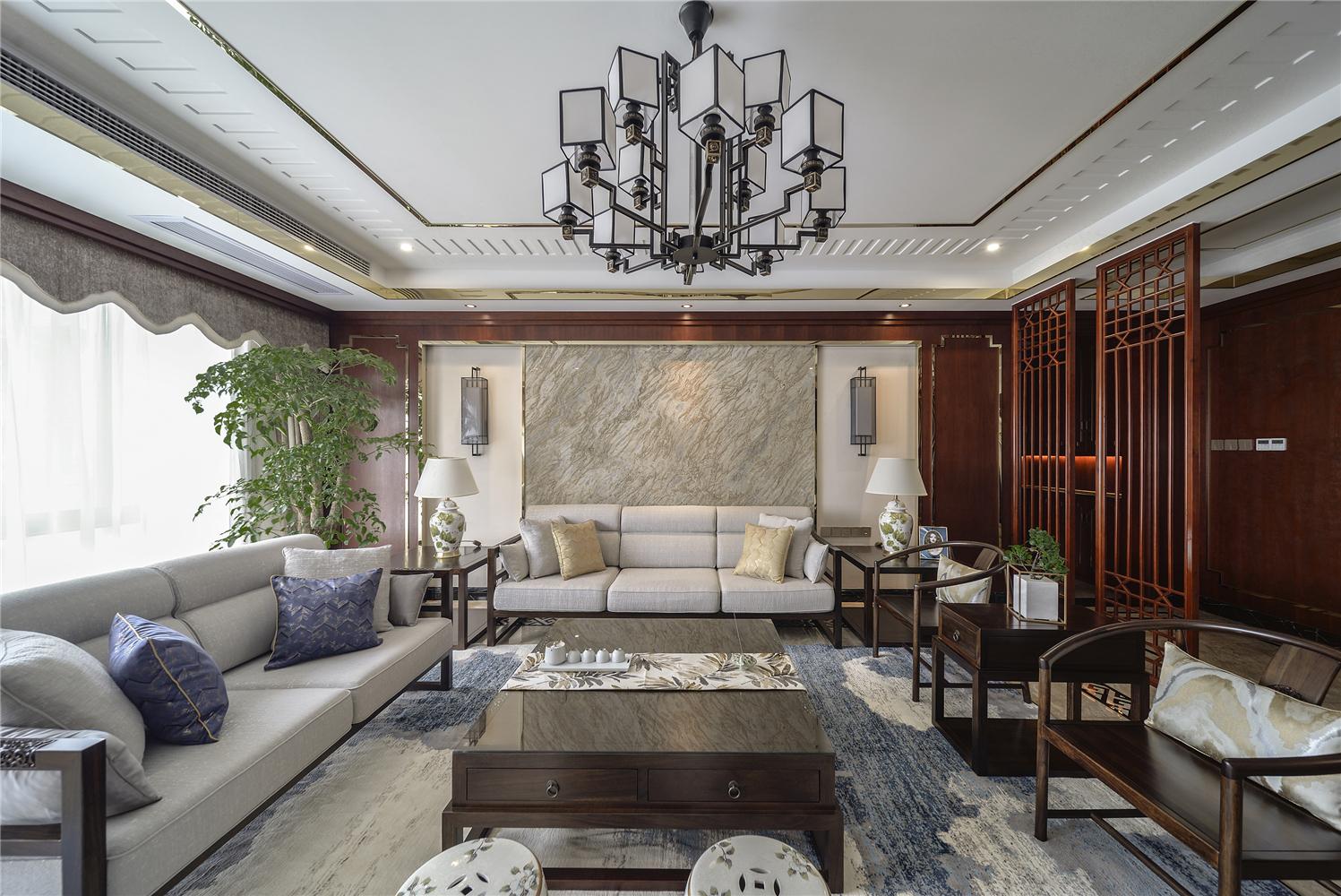大户型中式风格客厅沙发墙装修效果图