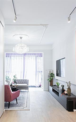 70平复古三居室客厅装修效果图