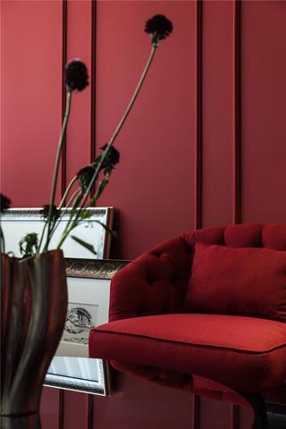 96㎡混搭风格装修红色沙发椅设计