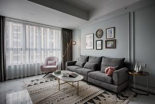 北欧轻奢风三居沙发背景墙装修效果图