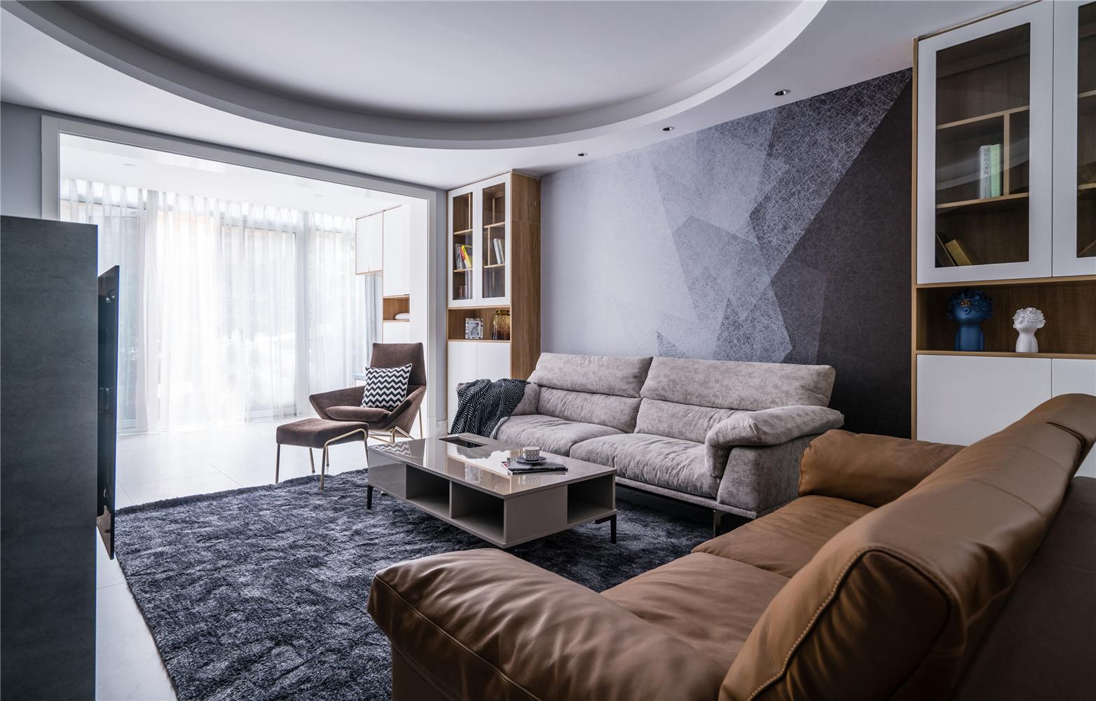 大户型复式现代简约沙发墙装修效果图