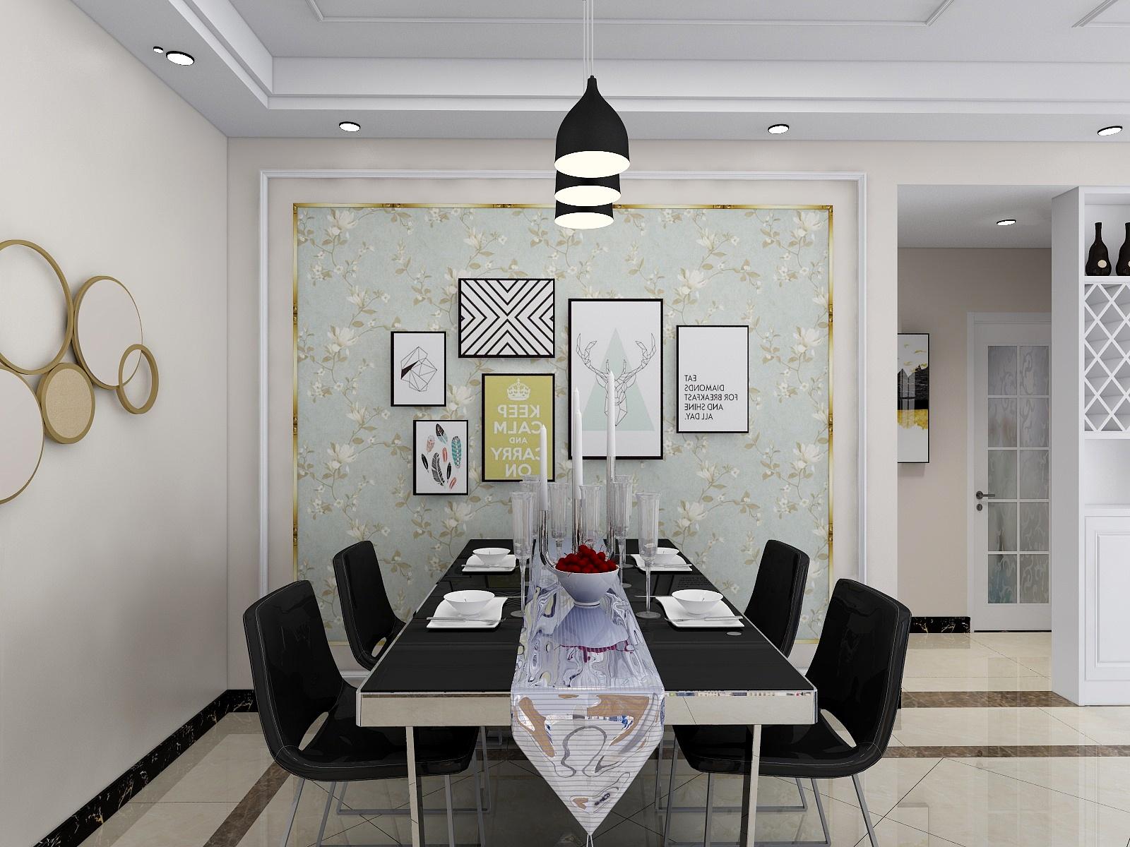 90平混搭风格餐厅装修效果图
