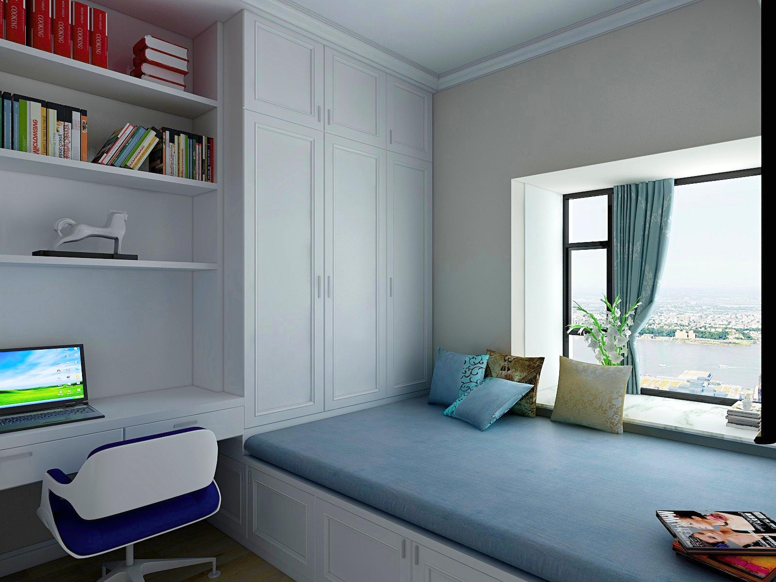 简美四居室榻榻米书房装修效果图