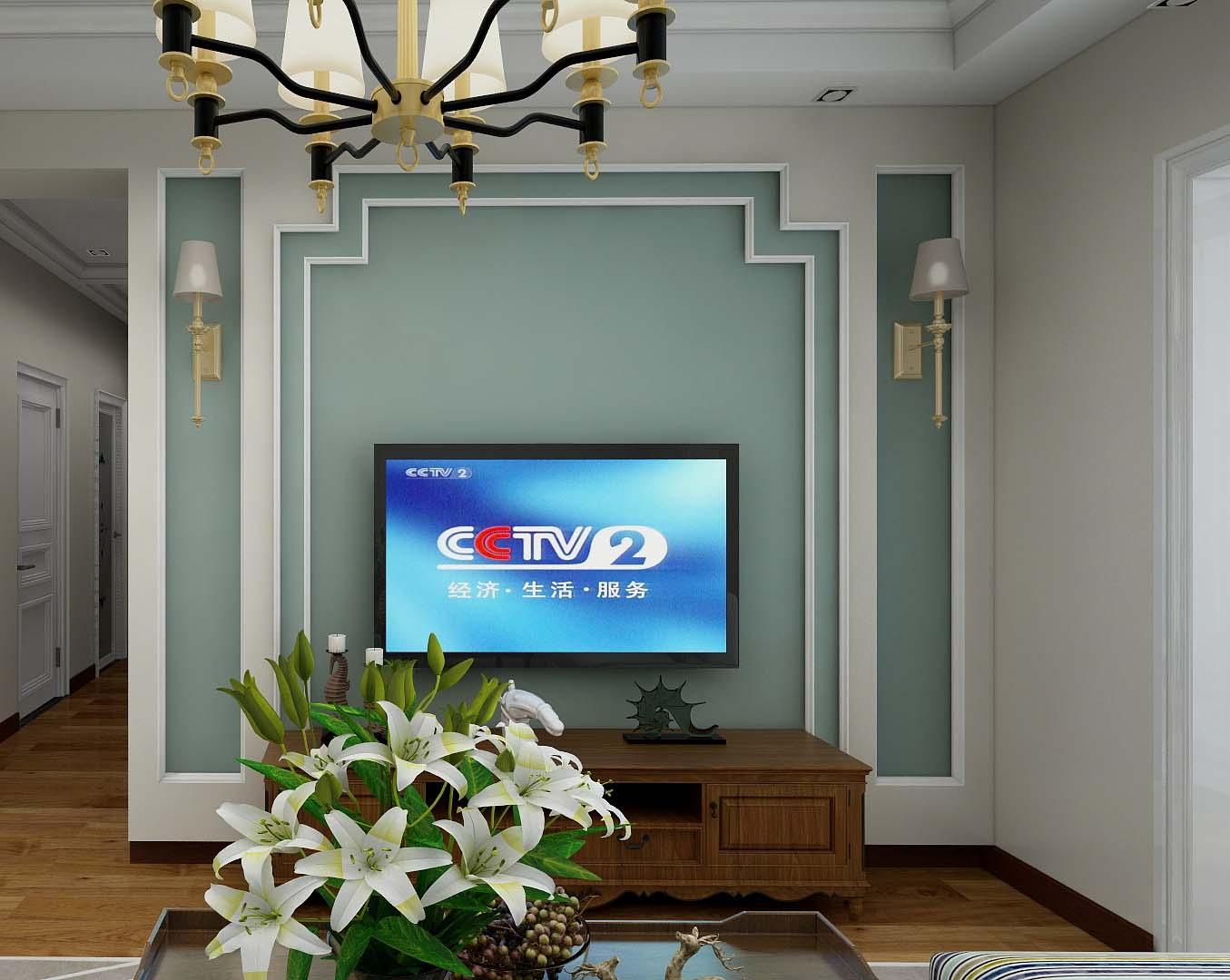 简美四居室电视背景墙装修效果图