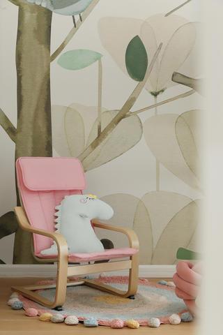 85平北欧风格装修粉色摇椅设计