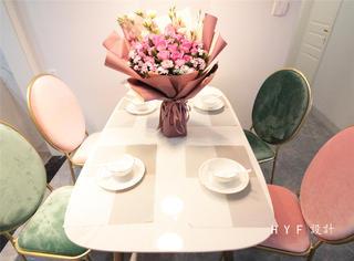 89㎡混搭风格装修餐桌椅设计图