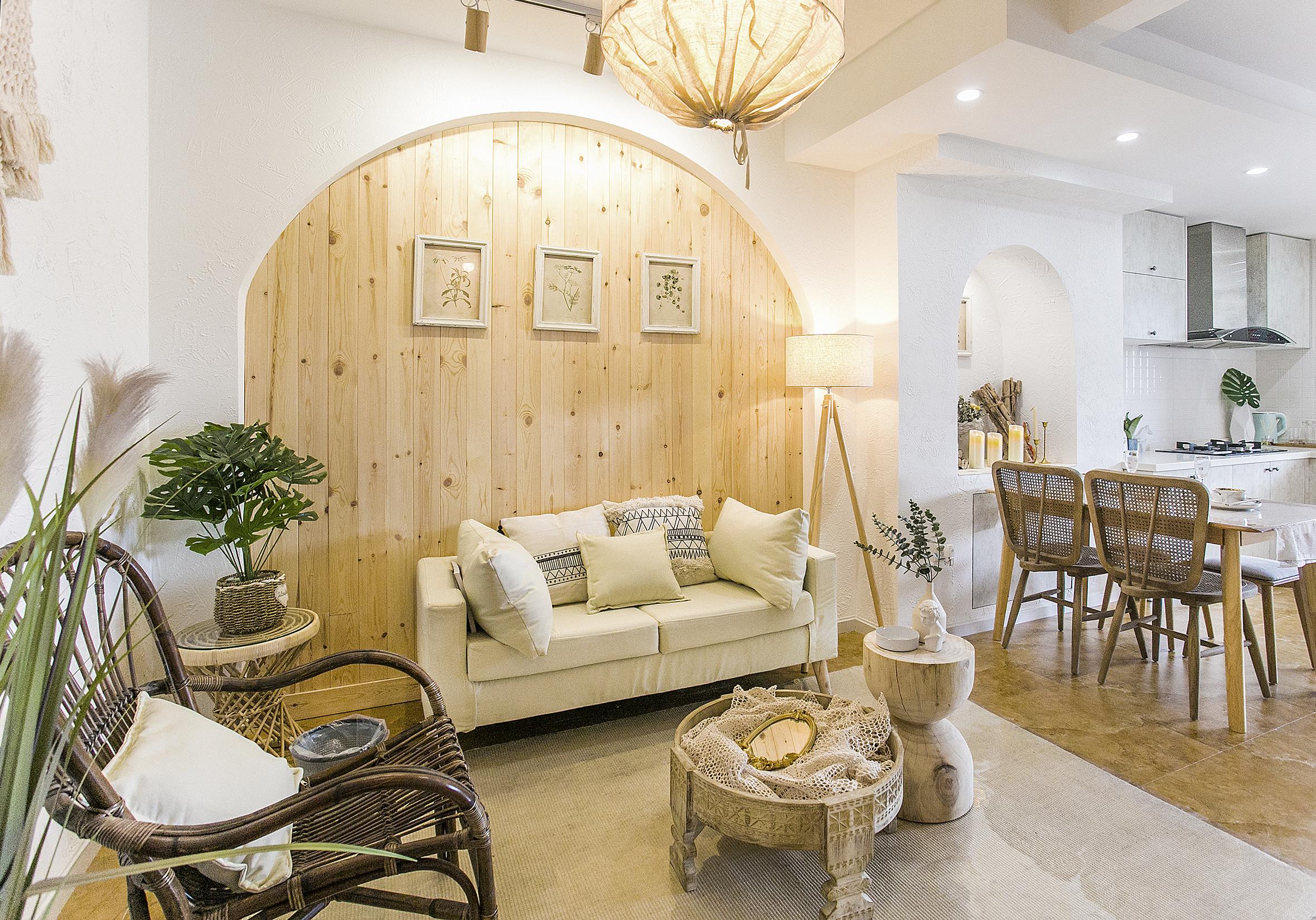60平二居室沙发背景墙装修效果图