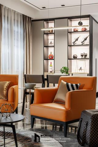 145㎡现代简约风装修橙色沙发椅设计