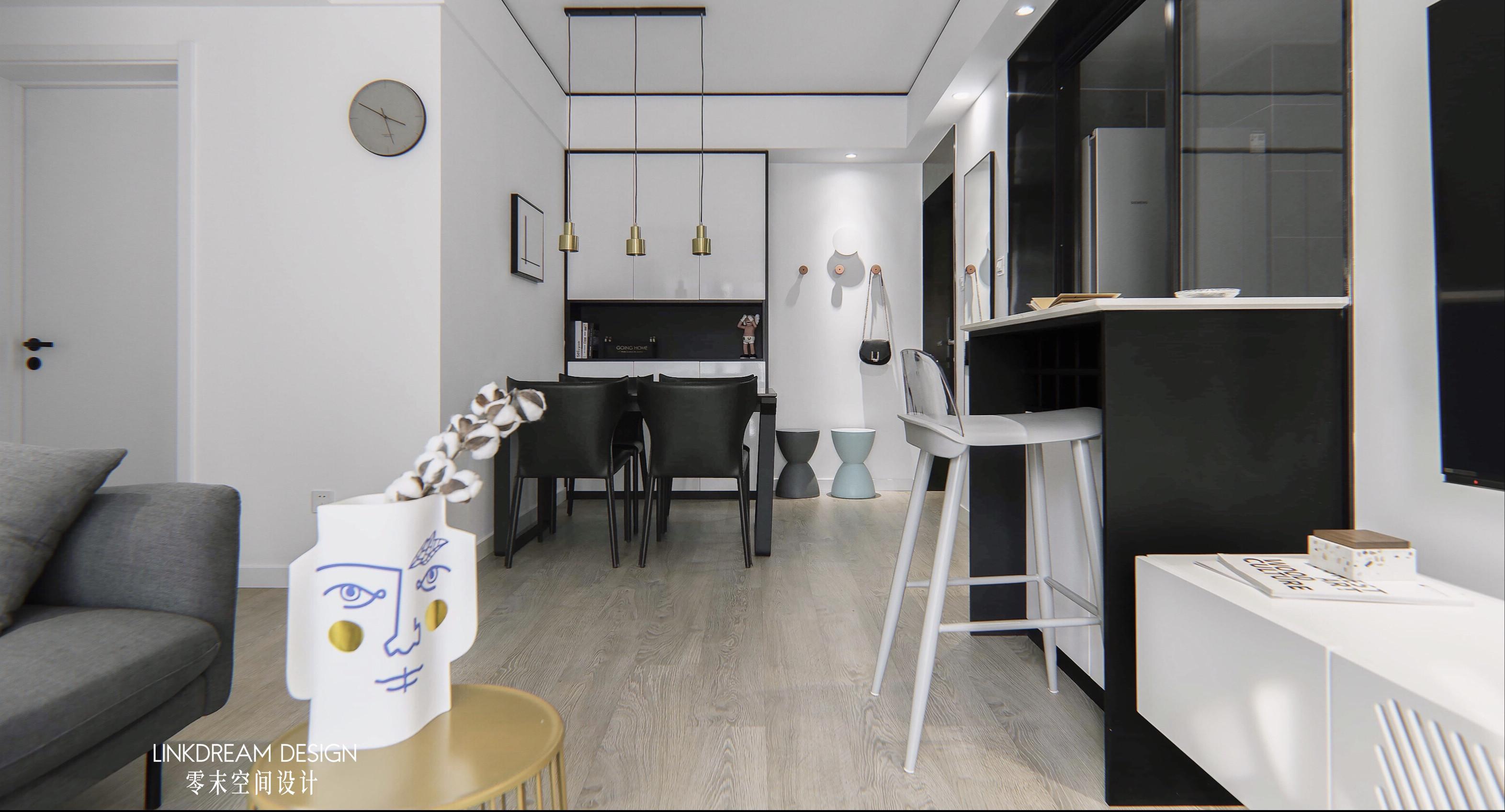 60平米两居室吧台装修效果图