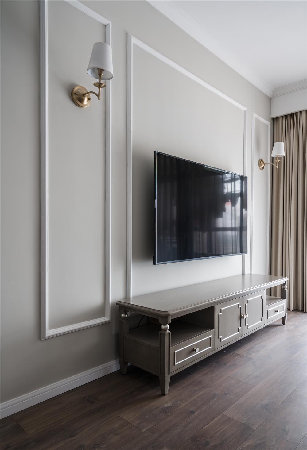 90㎡现代美式风格电视背景墙装修效果图